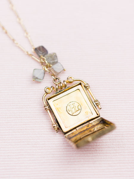 Antique Gold Locket with Pale Blue Beads Necklace
