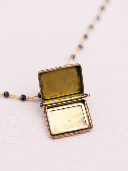 Antique Gold Locket & Spinel Bead Necklace