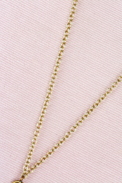 Antique Gold Plated Chased Pencil Necklace