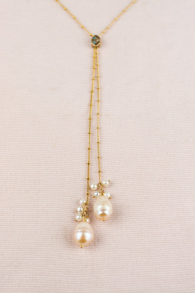 Antique Pearl Gold Slide Necklace