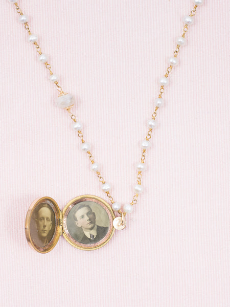 Antique Golden Locket Necklace with Pearls and Quartz