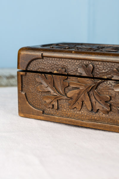 Antique French Handcarved Wood Glove Box