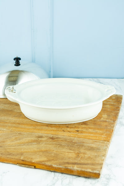 Antique Harrods Ironstone Warming Dish with Silverplated Dome