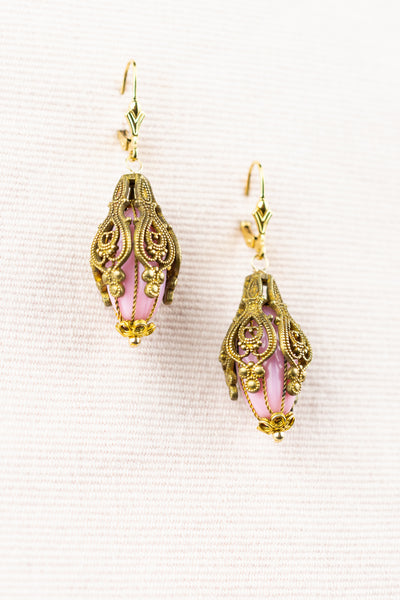Antique Pink and Gold Bead Dangle Earrings