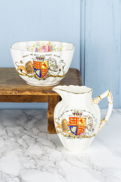 Antique Queen Victoria 1897 Diamond Jubilee Cream and Sugar Set