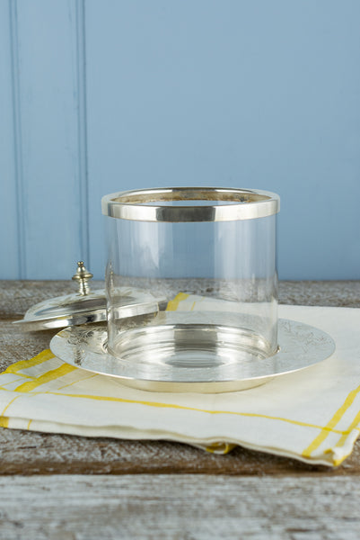 Antique Silverplate and Glass Biscuit Barrel with Coaster