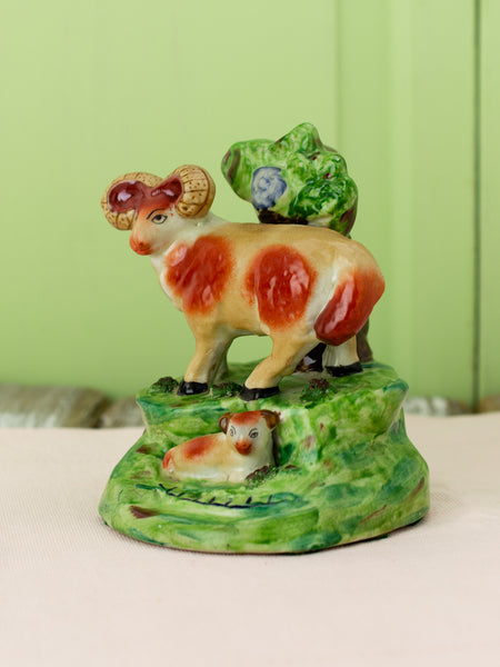 Antique Staffordshire Ram Figural