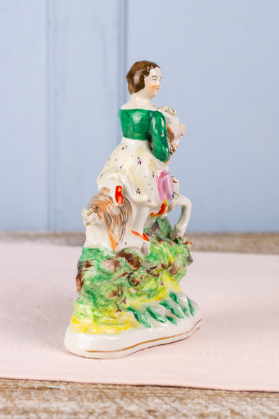 Antique Staffordshire Girl on Goat Figurine
