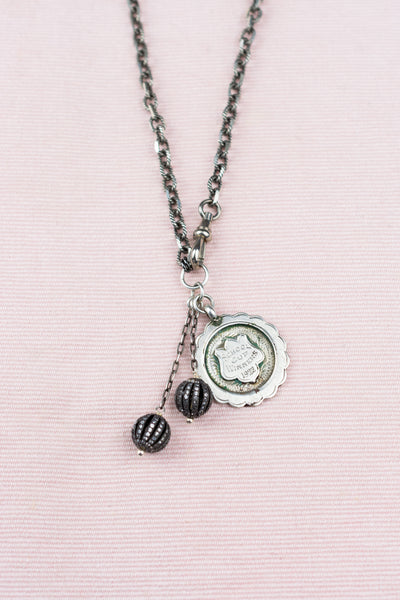 Antique Sterling School Medal Charm Necklace