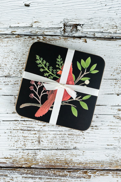 Festive Bird Coasters - Set of 4