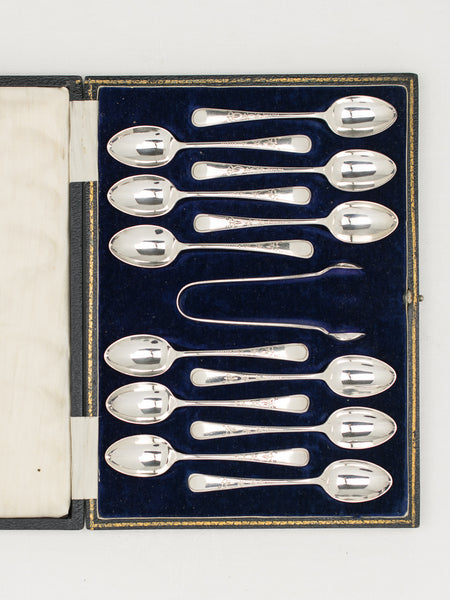 Vintage Silverplate Boxed Teaspoons & Tong - Set of 12