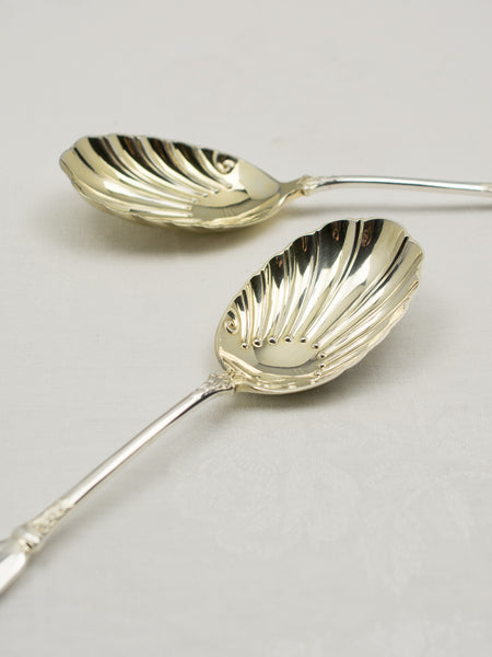 Victorian Silverplate Plume Serving Spoons