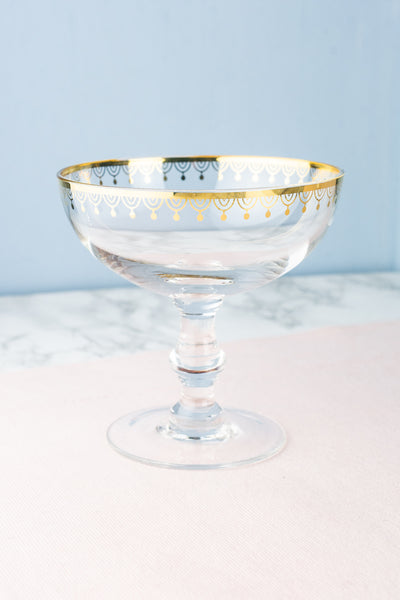 Art Deco Glass Champagne Coupes — Set of 2