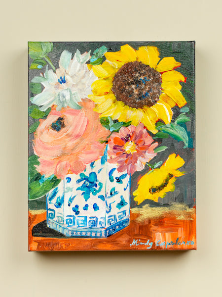 Original Sunflowers in Blue & White Vase Painting - 8x10
