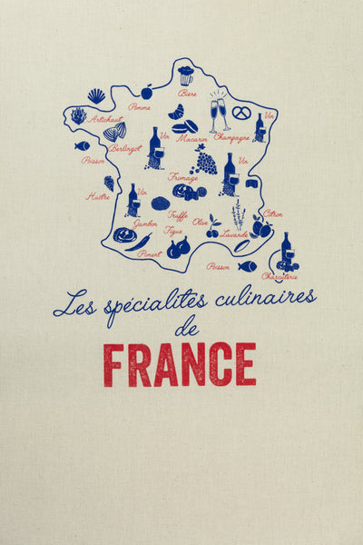 Culinary Specialties of France Tea Towel
