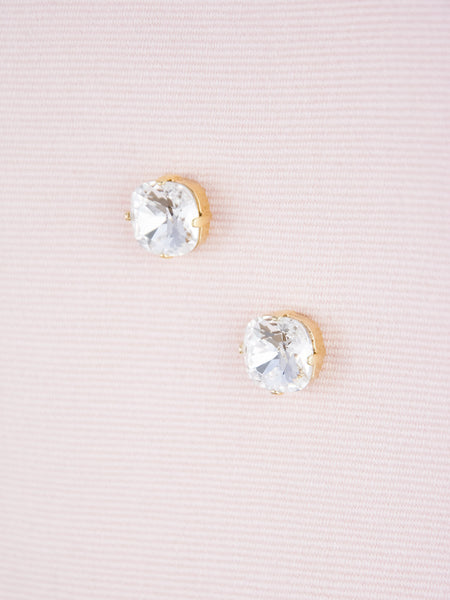 Cushion Cut Crystal Post Earrings