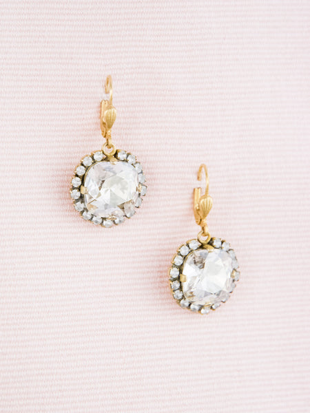 Cushion Cut Crystal Spectacle Drop Earrings