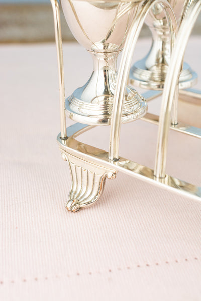Antique Silverplate Egg Caddy & Toast Rack for 4