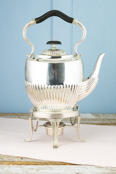 Antique Silverplate Queen Anne Tipping Teapot on Warming Stand