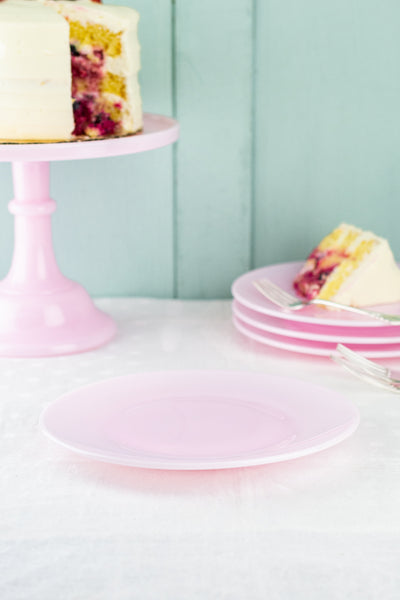 Pink Milk Glass Dessert Plate