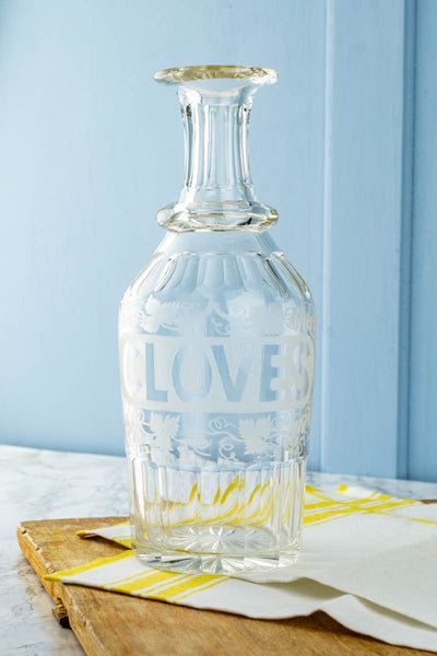 Antique Etched Crystal Carafe