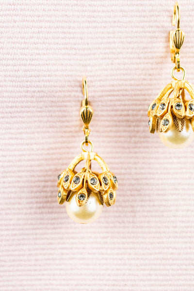 French Rhinestone and Pearl Drop Earrings