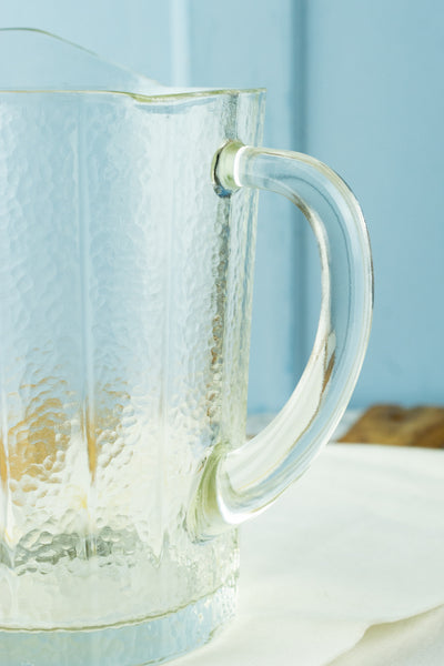 Vintage Textured Glass Pitcher