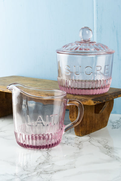 "Pink Glass ""Lait & Sucre"" Set"