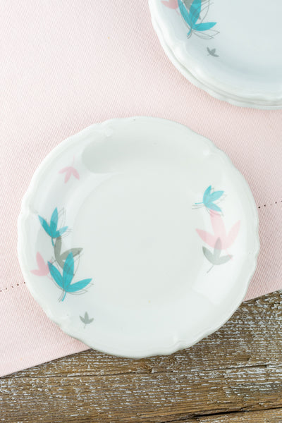 Vintage Shenango China Pastel Leaves Appetizer Plate
