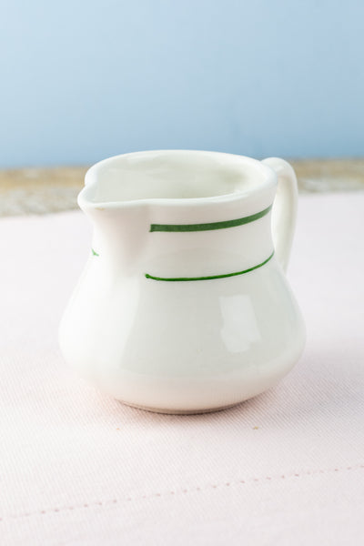 Vintage Buffalo China Green Band Creamer