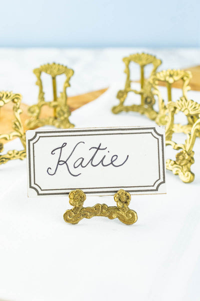 Vintage Brass Place Card Easels - Set of 6