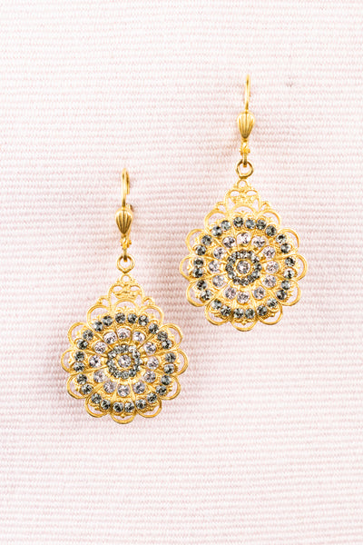 French Gold Lace Rhinestone Earring