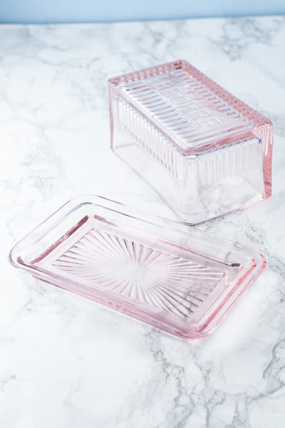 Pink Glass Beurre Butter Dish