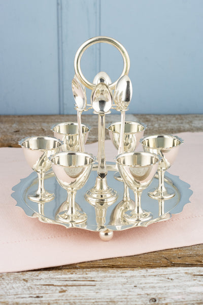 Victorian Silverplate Egg Cruet - Service for 6