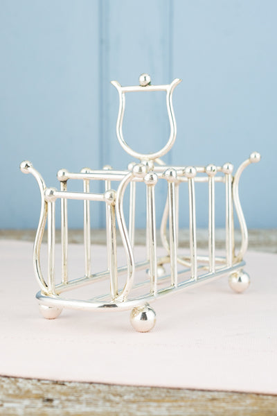Vintage Silverplate Lyre Toast Caddy