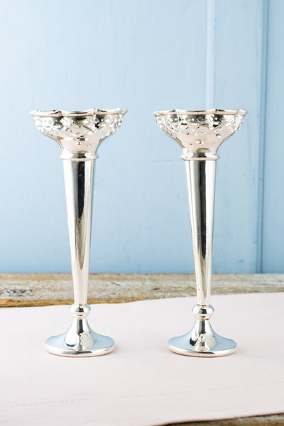 Vintage Silverplate English Trumpet Vase Pair