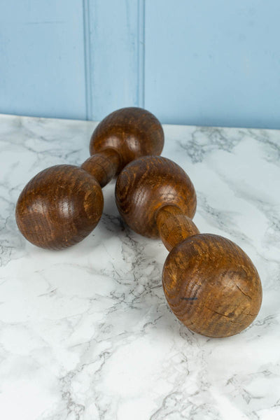 Antique Wood Dumbbell Pair
