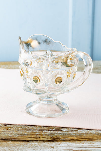 Antique Glass Creamer and Sugar Bowl