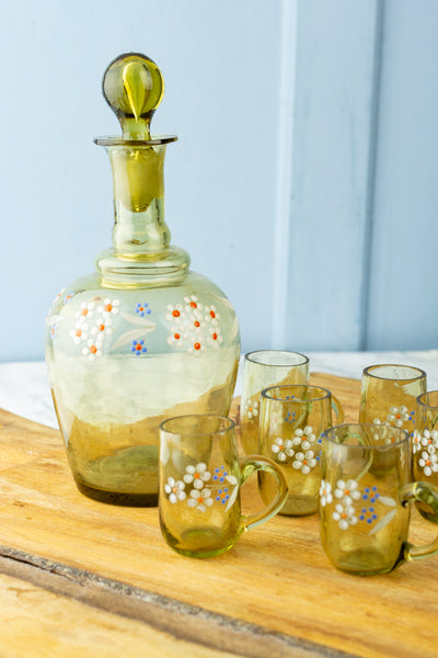 Antique Hand-Painted Cordial Decanter with Six Glasses
