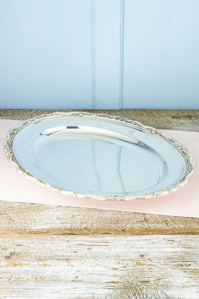 Antique Silverplate Oval Tray