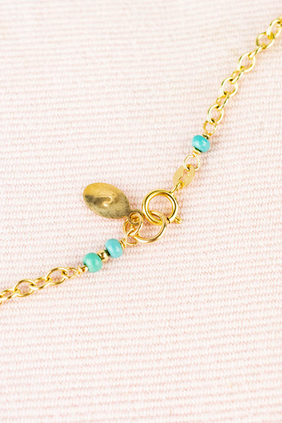 Antique 14K Gold Filled Locket Necklace with Turquoise