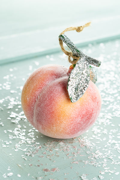 Glass Frosty Peach Ornament