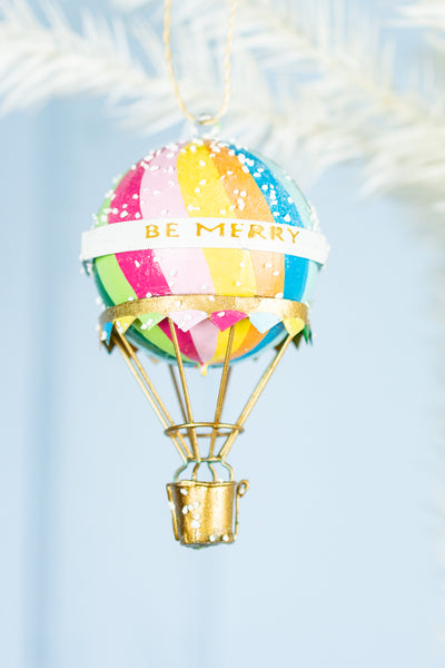 Be Merry Hot Air Balloon Ornament