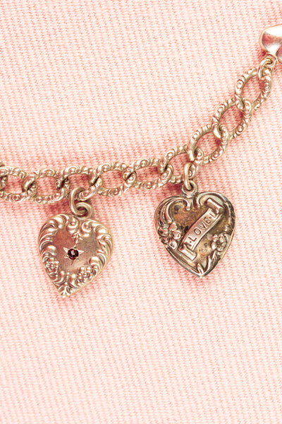 Antique Sterling Silver Hearts Charm Bracelet