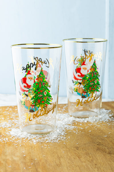 Happy Holiday Glasses - Set of 2