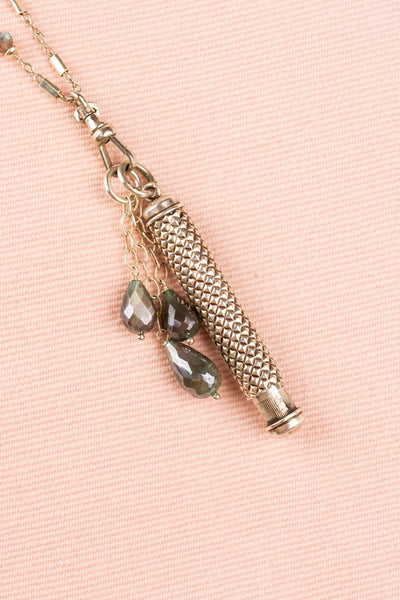 Vintage Sterling Pencil and Labradorite Necklace