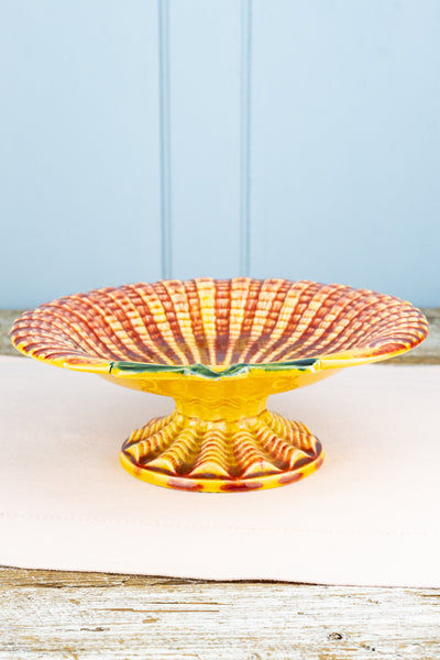 Antique Majolica Clam Shell Compote