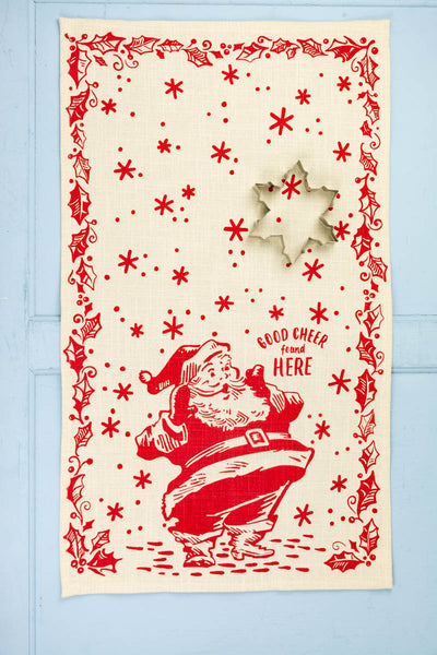 Good Cheer Found Here Tea Towel with Cookie Cutter
