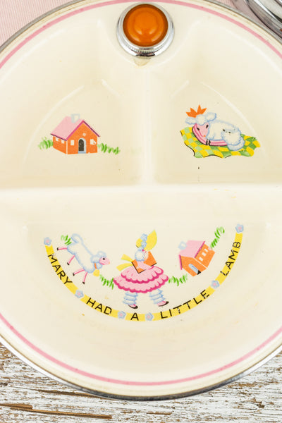 Vintage Mary Had A Little Lamb Divided Warming Dish