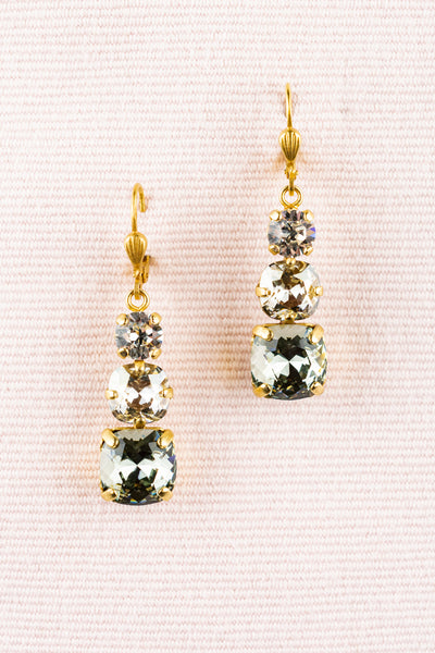 French Triple Crystal Drop Earrings